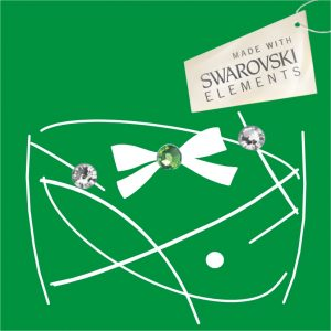 Obr. 50 swarovski 1 zelený 2 biele+ Obr. 50 swarovski 1 zelený 2 biele